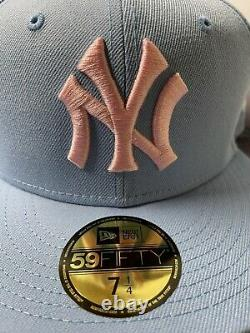 7 1/4 YANKEES COTTON CANDY FITTED HAT 50TH YEAR PATCH PINK BRIM NEW YORK club