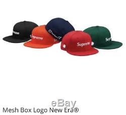 Authentic 2018 Supreme New Era Mesh Box Logo Fitted Cap Black SS18 Size 7 1/4