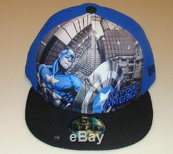 Captain America New Era Cap Hat Fitted 7 3/4 Panel Tone Out Logo DC 59Fifty New