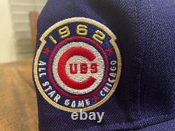 Chicago Cubs 1962 All Star Game Dark Royal Blue New Era Fitted Hat 7 3/4 Gray UV