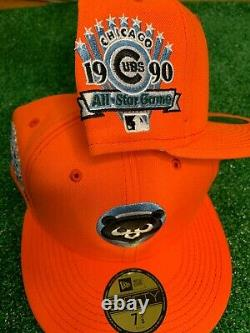 Chicago Cubs 1990 All Star Game Hat New Era 59FIFTY Club Orange Ice Blue Bottom