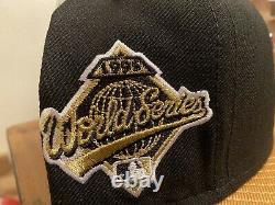 Cleveland Indians Black Gold 1995 World Series Grey UV New Era Fitted Hat 7 3/4