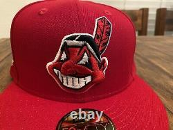 Cleveland Indians Red Grey UV 1995 World Series Patch New Era Fitted Hat 7 1/2