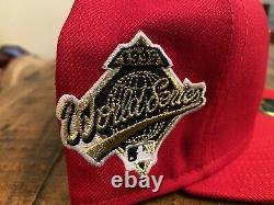 Cleveland Indians Red Grey UV 1995 World Series Patch New Era Fitted Hat 7 1/4