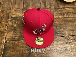 Cleveland Indians Red Grey UV 1995 World Series Patch New Era Fitted Hat 7 1/8