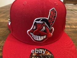 Cleveland Indians Red Grey UV 1995 World Series Patch New Era Fitted Hat 7 3/4