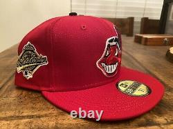 Cleveland Indians Red Grey UV 1995 World Series Patch New Era Fitted Hat 7 3/8
