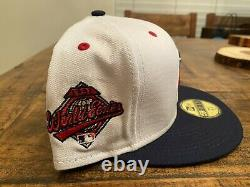 Cleveland Indians White Blue 1997 World Series Patch New Era Fitted Hat 7 5/8