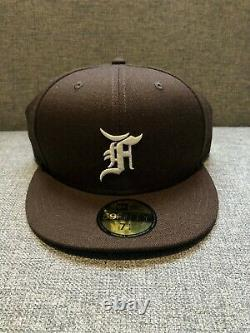 DS New FEAR OF GOD ESSENTIALS New Era Fitted Cap / Hat (FW20) Brown / White FOG