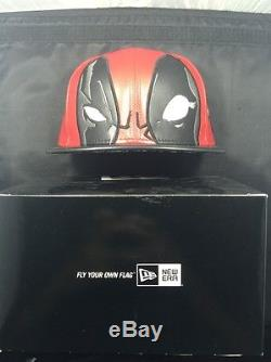 Deadpool Big Face New Era Marvel Leather Rare Limited Cap Hat Fitted Size 7