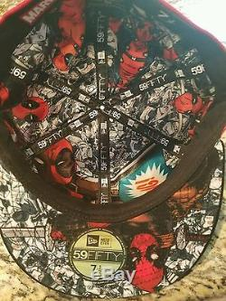 Deadpool Marvel New Era Big Face Character 59Fifty Rare and Exclusive 7 3/8 Hat