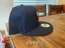 Detroit Tigers Navy White Tiger New Era Fitted Hat 7 3/4 Gray UV