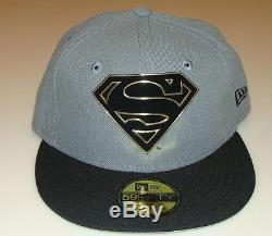 Flock Cut New Era Cap Hat Fitted 7 1/2 Superman 59Fifty Suede Outlined Logo
