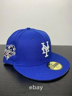 Hat Club Exclusive 7 1/4 Mets Fitted GITD 2000 WS Patch Gray Bottom New Era