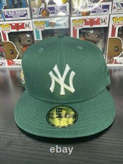 Hat Club Exclusive 7 5/8 Yankees Fitted 09 WS Patch Green Icy Blue Bottom