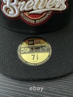 Hat Club Exclusive Beer Pack Milwaukee Brewers New Era Size 7 3/8 Black Red