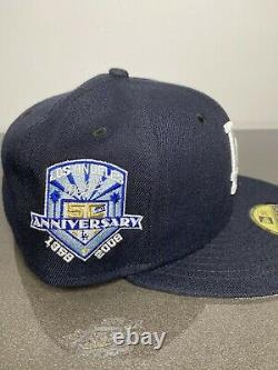 Hat Club Exclusive LA Dodgers Navy Fitted 7 1/4 50th Aniv Patch Grey Brim