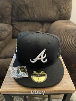 Hat Club Exclusive LV Red Bottom Black Atlanta Braves New Era Fitted Cap 7 5/8