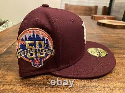 Hat Club Exclusive Merlot New York Mets 50th Anniversary New Era Fitted 7 3/4