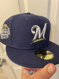 Hat Club Exclusive New Era Milwaukee Brewers 2002 All Star Fitted Hat Pink UV