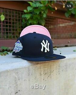 Hat Club Exclusive New Era, Yankees 1999 PinkBottom/uv 5950 Fitted size 7 5/8