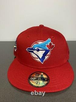 Hat Club Exclusive Toronto ICY Blue Jays Red Fitted Blue Brim Bottom 7 1/4