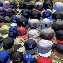 Lot Of 100 Vintage Sports Advertisement Fitted Snapback Hats Caps New Era Bundle