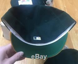 Lot Of 20 Vintage Deadstock NEW NWT Oakland Athletics Fitted Hat Caps 7 3/4 Era