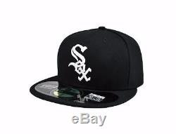NEW ERA 59FIFTY MLB BASEBALL FITTED ON FIELD HAT CHICAGO WHITE SOX BLACK WHITE