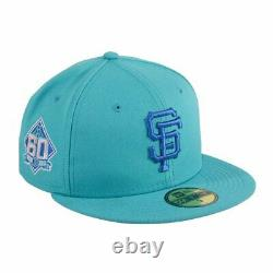 NEW ERA 59FIFTY SAN FRANCISCO GIANTS 60TH ANNIVERSARY PATCH HAT TEAL Sz 7 3/8