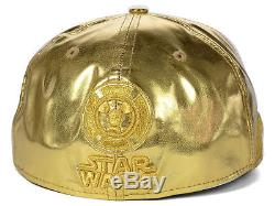 NEW ERA 7 1/8 59fifty Character BIG Face Premium C-3PO Hat Star Wars Gold Droid