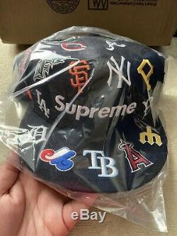 NEW! SUPREME x MLB x New Era Teams Baseball Hat Navy Fitted 7 1/2