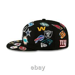 NFL All Over Logos Fitted Hat Cap New Era 100th Anniversary 32 Football Teams BL