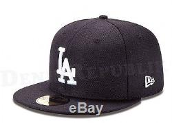 New Era 5950 LA Los Angeles Dodgers Game MLB Baseball Cap Hat Navy Blue Fitted
