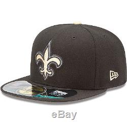 New Era 5950 NEW ORLEANS SAINTS Game Official NFL On Field Cap Black Fitted Hat
