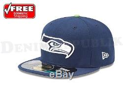New Era 5950 SEATTLE SEAHAWKS NFL On Field Game Cap Fitted Navy Fitted Hat