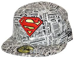 New Era 59Fifty Superman Newspaper Size 7 1/2 Cap RARE SAMPLE Daily Planet NWT