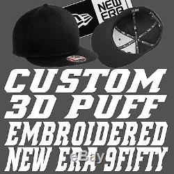 New Era 9Fifty Black Flatbill SnapBack With Your Custom Puff 3D Emboidered Text