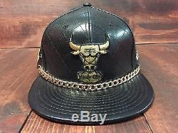 New Era Chicago Bulls Championship Quilted Leather Strapback Hat Black Gold M/L