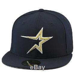 New Era Houston Astros 1999 Home Fitted Hat Cap All NAVY/METALLIC GOLD mlb