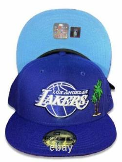 New Era Los Angeles Lakers Palm Trees 59FIFTY Blue Fitted Hat Blue Bottom Size 7