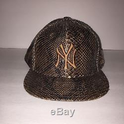 New Era New York Yankee 59FIFTY Fitted Limited Snakeskin Leather Hat Size 8 NY