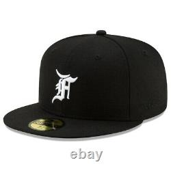 New Era x FEAR OF GOD Essentials 59FIFTY Fitted Black Cap Size 7 3/8 7 5/8