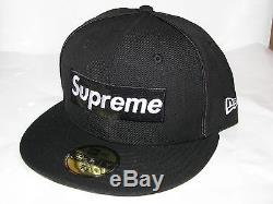 New Era x SUPREME Piping Box Logo 5950 Fitted Hat Cap BLACK 7 1/8 NEW! S/S 2017