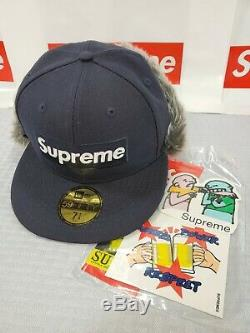 New With Tags Supreme Earflap New Era 6-panel Hat Cap 7 Navy Box Logo Fw19 Ds