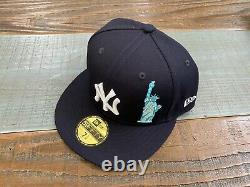 New York Yankees Navy Team Describe New Era Fitted Hat 7 5/8 Apple Liberty
