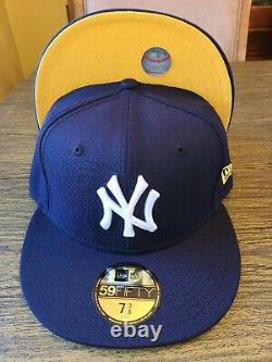 Ny Yankees Yellow Blue Bottom Brim New Era 59fifty Fitted 7 3/8 Hat Club Cap