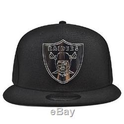 Oakland Raiders METAL BADGE Snapback 9Fifty New Era NFL Hat -Black/Silver