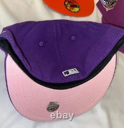 Purple NY Yankees 1999 WS Patch New Era 5950 Fitted size 7 1/2 w Pink UV