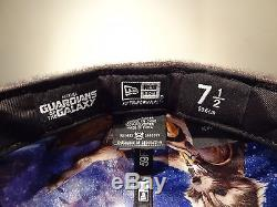RARE New Era Marvel Guardians Of The Galaxy Fitted Hat ROCKET RACCOON Sz 7 1/2